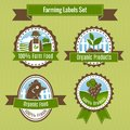 Farming harvesting and agriculture badges or labels set isolated vector illustration Royalty Free Stock Photography