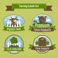 Farming harvesting and agriculture badges or labels set vector illustration Royalty Free Stock Photos