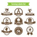 Farming harvesting and agriculture badges or labels set on white background isolated vector illustration Stock Photo