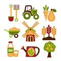 Farming harvesting and agriculture icons set of natural organic fruits vegetables isolated vector illustration Royalty Free Stock Image