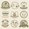 Farming harvesting and agriculture labels badges or retro vintage collection vector illustration Stock Photo