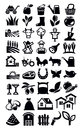 Farming icon vector black set on white Royalty Free Stock Image