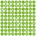 100 farming icons hexagon green