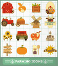 Farming icons set and agriculture illustration Stock Photo