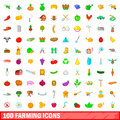 100 farming icons set, cartoon style