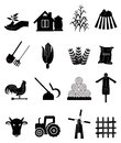 Farming icons set of and harvesting related set in black Royalty Free Stock Photos