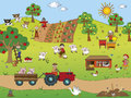 Farming illustration of country landscape with farm animals Royalty Free Stock Photos