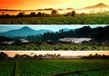 Farmland landscape collage a collection of beautiful picture taken at morning Royalty Free Stock Images