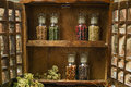 Farms Vintage Wooden Spice Rack or Storage Cabinet with fresh eg Royalty Free Stock Photo