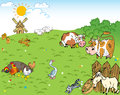 Farmyard the illustration shows the and meadow on which the farm animals and pets Royalty Free Stock Images