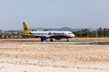 FARO, PORTUGAL - Juny 18, 2017 : Monarch Flights aeroplane departure from Faro International Airport. Monarch is a British airline Royalty Free Stock Photo