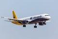 FARO, PORTUGAL - Juny 18, 2017 : Monarch Flights aeroplane landing on  Faro International Airport. Monarch is a British airline. Royalty Free Stock Photo