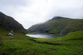 Faroe islands saksun church and bay view on on streymoy island in the Stock Image