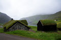 Faroe islands saksun grass houses view on bay and old on streymoy island in the Stock Photography