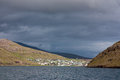Faroe Islands, village of Sørvágur from the sea Stock Image
