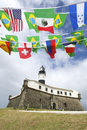 Farol da barra salvador brazil lighthouse international flags Royaltyfria Bilder