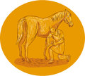 Farrier Placing Shoe on Horse Hoof Circle Drawing