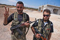 Fas fighters azaz syria two members of the fsa free syrian army in Royalty Free Stock Image