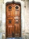 Fascinating vintage door, history and beauty in Barcelona city,Spain Royalty Free Stock Photo