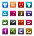 Fashion & Apparels Icons - sticker series Royalty Free Stock Photography