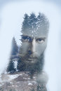 Fashion artistic double exposure image of bearded hipster Royalty Free Stock Photo