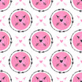 Fashion background with arrows and pink circles ornament. Geometric Print design. Tribal arrow seamless vector pattern painting te