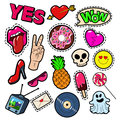 Fashion Badges, Patches, Stickers set with Girls Elements - Lips, Heart, Sweets, Speech Bubble in Pop Art Comic Style
