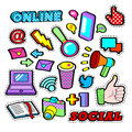 Fashion Badges, Patches, Stickers set with Social Network Elements - Laptop, Megaphone in Pop Art Comic Style