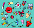 Fashion badges or stickers hand drawn style vector