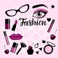 Fashion banner with a set of illustrations make up sign. Royalty Free Stock Photo
