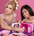 Fashion barbie girls pink microwave sweets kitchen Royalty Free Stock Photo