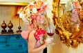 Fashion baroque blond womand drinking red wine Royalty Free Stock Photos