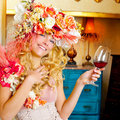 Fashion baroque blond womand drinking red wine Stock Photo