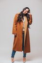Fashion beautiful happy cute smiling brunette woman girl in casual brauwn coat Royalty Free Stock Photo