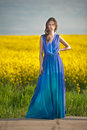 Fashion beautiful young woman in blue dress posing outdoor with cloudy dramatic sky in background. Attractive long hair brunette