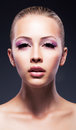Fashion, beauty, Fresh female face - pink makeup Royalty Free Stock Photo