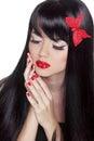 Fashion Beauty Girl. Gorgeous Woman Portrait. Long black hair an Royalty Free Stock Photo