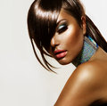 Fashion beauty girl stylish haircut and makeup Royalty Free Stock Images