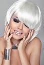 Fashion Beauty Portrait Woman. White Short Hair. Happy Girl Clos