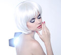 Fashion Beauty Portrait of woman with White Short Hair. Makeup a Royalty Free Stock Photo