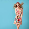 Fashion Beauty. Sensual Blond Model. Summer Outfit Royalty Free Stock Photo