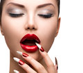 Fashion beauty sexy model girl manicure and make up Stock Photo