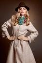 Fashion beauty woman in stylish coat hat, autumn Royalty Free Stock Photo