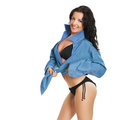 Fashion bikini girl model in man boyfriend shirt Stock Photos