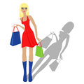 Fashion blond model with shopping bags fashionable in red dress hand drawing vector illustration isolated on white background Royalty Free Stock Photo
