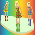 Fashion blond models posing on podium in checkered stylish various dresses hand drawing vector illustration Stock Image