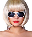 Fashion blonde model with sunglasses glamorous young woman short bob hairstyle isolated on white vogue style girl haircut Royalty Free Stock Photography