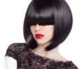 Fashion bob Haircut. Hairstyle. Long Fringe. Short Hair Style. B Royalty Free Stock Photo