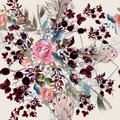 Fashion boho illustration with rose flowers