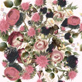 Fashion botanical pattern in retro style with roses. Good for fa